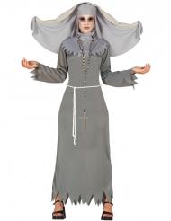 Disfarce freira cinzenta mulher Halloween