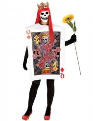 Disfarce carta rainha de ouros esqueleto mulher Halloween