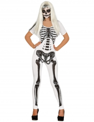 Disfarce macacão esqueleto branco mulher Halloween
