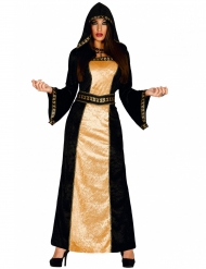 Disfarce preto e dourado condessa mulher