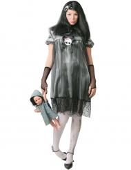 Disfarce pequena boneca da noite mulher Halloween