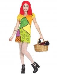 Disfarce boneca de pano colorida mulher