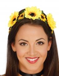 Diadema com flores amarelas mulher