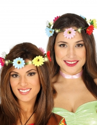 Coroa de flores coloridas luminosas adulto