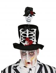 Chapéu alto noivo esquelero adulto Halloween.