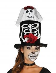 Chapéu alto noiva esquelero adulto Halloween.