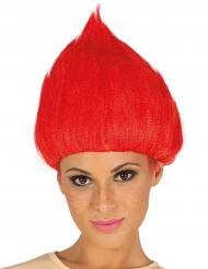 Peruca troll vermelha adulto