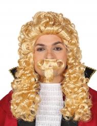 Peruca comprida marquês loiro com bigode adulto