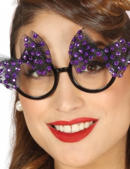 Óculos  anos 50 com laço lilás mulher
