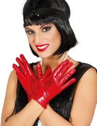 Luvas curtas metalizadas vermelhas mulher