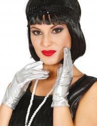 Luvas curtas metalizadas prateadas mulher