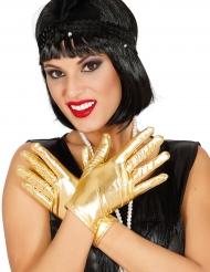 Luvas curtas metalizadas douradas mulher