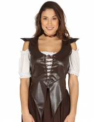 Corpete Medieval marron tipo couro - mulher