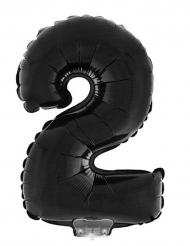 Balão alumínio número 2 preto 40 cm