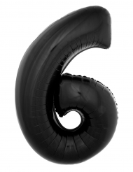 Balão alumínio número 6 preto 40 cm
