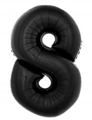 Balão alumínio número 8 preto 40 cm