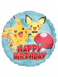 Balão alumínio Happy Birthday Pokemon™ 43 cm