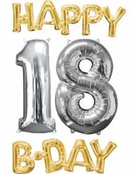 4 Balões alumínio Happy Bday 18 dourado e prateado