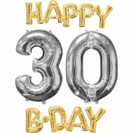 4 Balões alumínio Happy Birthday 30 dourados e prateados