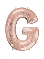 Balão alumínio Letra G cor-de-rosa gold
