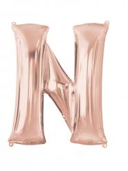Balão alumínio Letra N cor-de-rosa gold