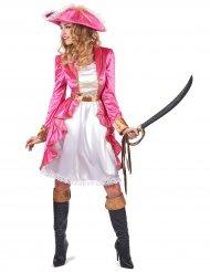Disfarce pirata barroca cor-de-rosa mulher