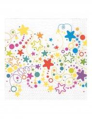 20 guardanapos bolas e estrelas 33 x 33 cm