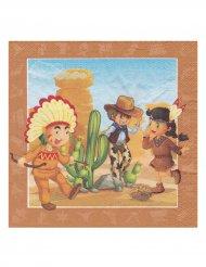 20 guardanapos cowboy e índio 33 x 33 cm