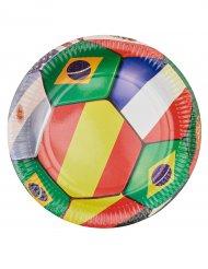 6 Pratos de cartão Futebol 23 cm