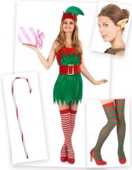 Pack disfarce duende mulher com orelhas, meias e bengala