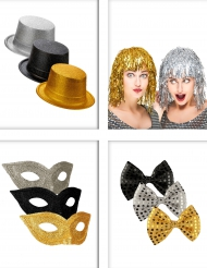 Pack acessórios de festa preto, dourado, prateado