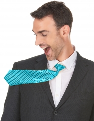 Gravata turquesa com lantejoulas adulto
