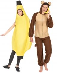 Disfarce de casal banana e macaco adulto