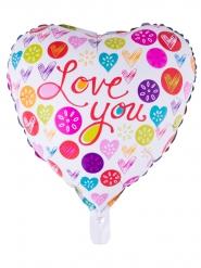 Balão alumínio coração colorido I Love You