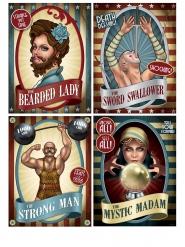 "4 Cartazes de Circo ""vintage"" 38 cm"