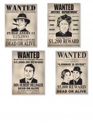 4 cartazes de cartão wanted 39 cm