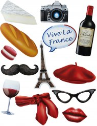 Kit Photobooth tema francês 13 acessórios