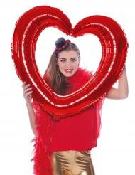Balão quadro em forma de coração vermelho