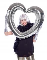 Balão quadro em forma de coração prateado