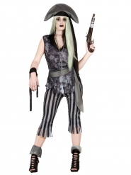 Disfarce pirata fantasma mulher Halloween