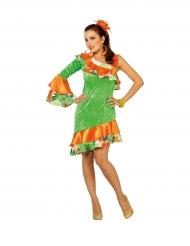 Disfarce dançarina de rumba laranja e verde mulher