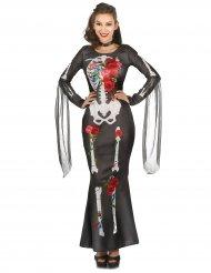 Disfarce vestido esqueleto mulher Dia de los Muertos
