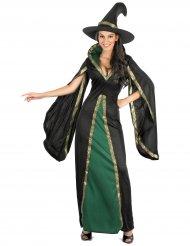 Disfarce bruxa preta veludo mulher