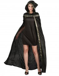 Disfarce capa de bruxa comprida veludo mulher Halloween