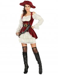 Disfarce pirata branco e vermelho mulher