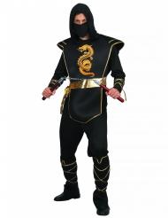 Disfarce ninja preto e dourado homem