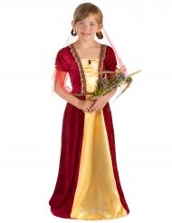 Disfarce condessa medieval vermelho menina