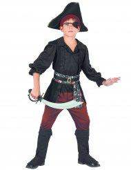Disfarce pirata preto e vermelho menino