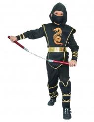 Disfarce ninja menino preto e dourado