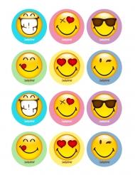 12 Decorações em açúcar para biscoitos Smiley World™ 5 x 8 cm